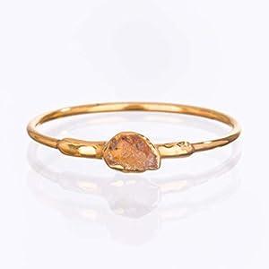 Dainty Rough Citrine Ring, Yellow Gold, November Birthstone