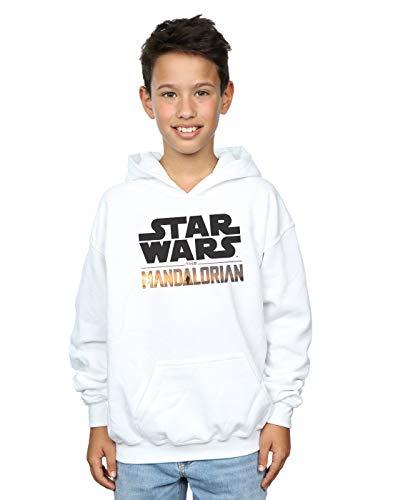 Star Wars Niños The Mandalorian Logo Capucha Blanco 12-13 Years