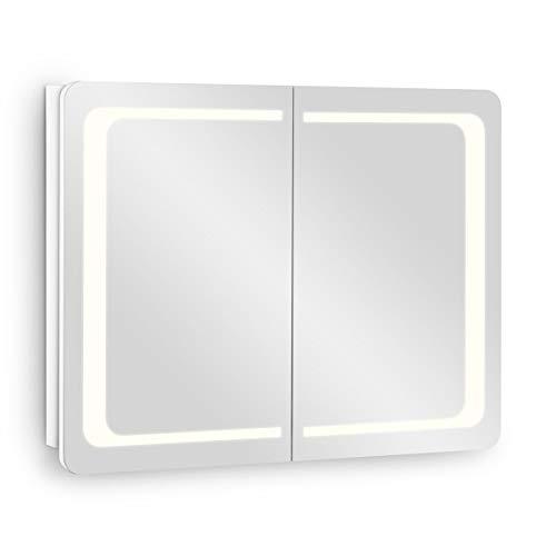 Galdem Spiegelschrank ROUND80 Badezimmerschrank 80cm 2 türig mit LED - Beleuchtung Softclose Funktion Steckdose Badezimmer Spiegel Flurspiegel