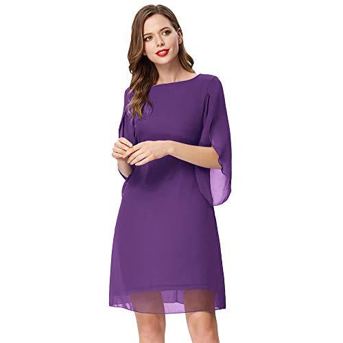 Damen Sommer Chiffon Kleid 3/4 Ärmel Loose Fit Elegant Midi Abendkleid XL Lila CL11125-3