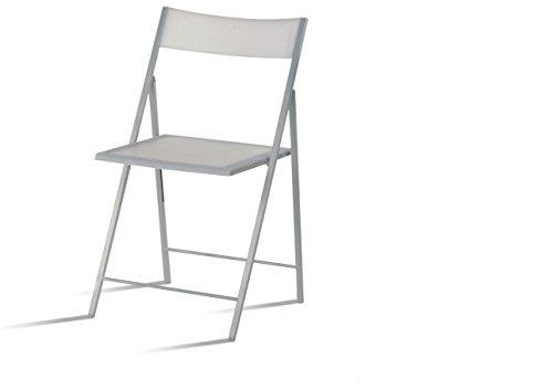 EUROSILLA SLIMB-1 Slim Sedia Pieghevole Colore Bianco, 45 x 43 x 77 cm