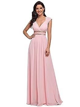Ever-Pretty Womens Long Sleeveless V-Neck Simple Elegant Prom Dress 14 US Pink