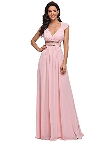 Ever-Pretty Damen Abendkleid A-Linie Festliches Kleid V Ausschnitt Brautjungfer rückenfrei lang...