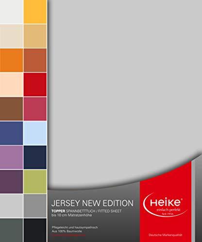 Heike Spannbettlaken Jersey New Edition Topper 100% Mako-Baumwolle Deutsche Markenqualität 160 gr/m2 bis 10 cm Höhe 20 Farben für Topper betten (Silbergrau)
