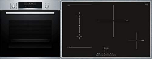 Bosch HND211LR61 Herd-Kochfeld-Kombination (Einbau) / A / 59,4 cm / Edelstahl / Klapptür / Versenkknebel / GranitEmail / Elektrokochfeld (herdgesteuert) / 4 HighSpeed Kochzonen / Umlaufender Rahmen