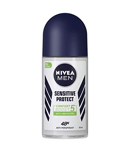 NIVEA MEN Sensitive Protect Roll On Anti-Irritating Anti-Perspirant Deodorant (50ml), with soothing Chamomile Extract & Avocado Oil