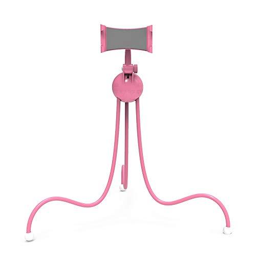Soporte para teléfono móvil rosa con patas largas, soporte para teléfono móvil con diseño de pulpo, trípode, flexión libre, uso de la cama, dispositivo móvil / tableta universal, ABS, rotación libre,