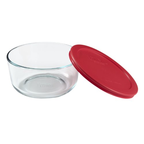 Pyrex Simply Store Glass Round Food Container with Red  Earplug, 7 cm, Black