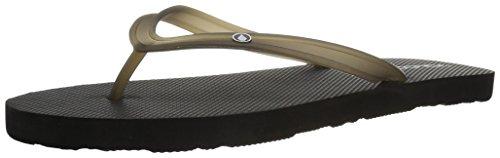 Volcom Women's Rocking 2 Solid Sandal FLIP Flop, black, 8 B US