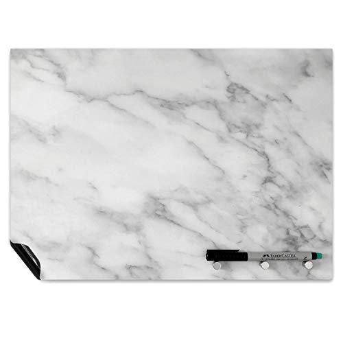Ferrofolie in Marmor-Optik I DIN A3 I Memoboard beschreibbar, abwischbar, selbstklebend I Magnettafel für Küche und Büro I mag_130