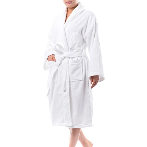 alpine swiss Blair Womens Cotton Terry Cloth Bathrobe Shawl Collar Velour Spa Robe, White, Large/X-Large