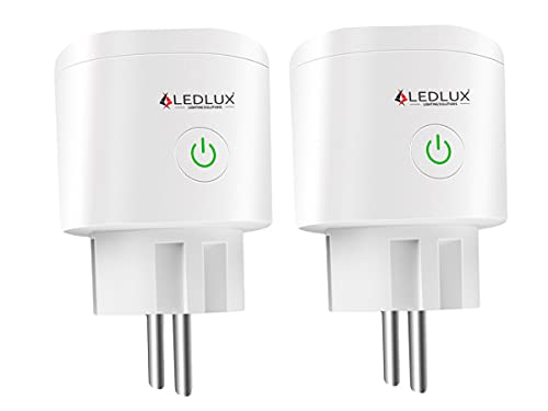 LEDLUX Presa Smart WiFi,Compatibile Con Alexa e Google Home,Presa Intelligente Smart Plug,Spina EU 220V 16A,Timer Monitoraggio Consumo,APP TUYA