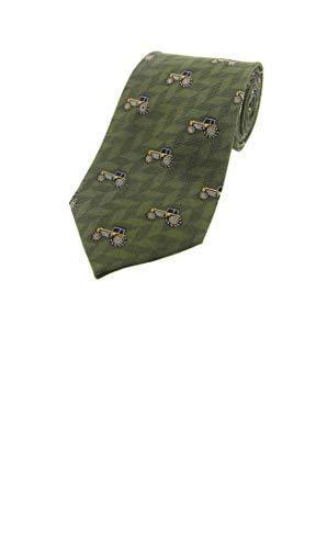 Soprano - Groene kleur luxe zijden stropdas met gele trekkers.