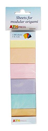 Modular de Papel Hojas 12Paquetes Origami, Color Amarillo Claro, Salmón, Rosa Claro, Lavanda, Medium Azul, Camel, Amarillo, Naranja, Rojo, Violeta, Azul Verde Primavera