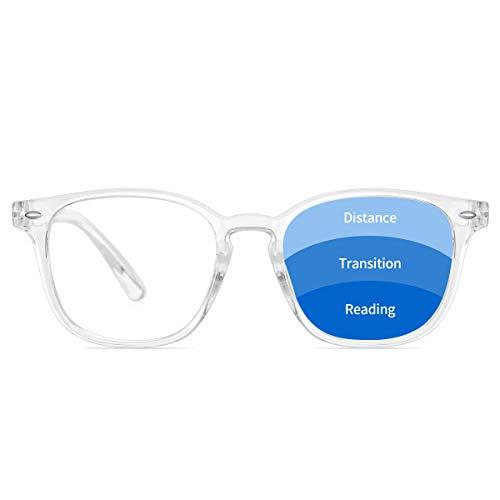 BLS Progressive Multifocus Reading Glasses Blue Light Blocking, Anti Eye Strain/Glare/UV Filter Computer Readers Eyeglasses (Transparent, 2.0)