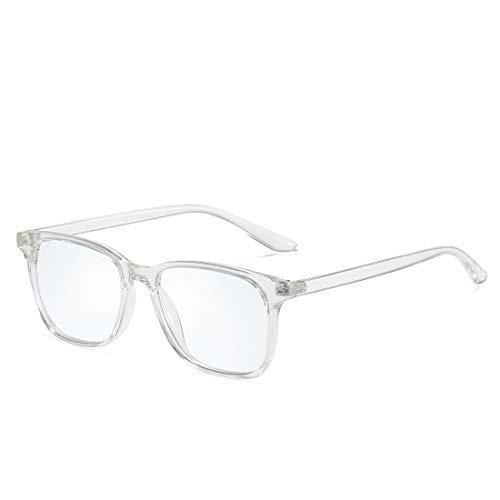kimorn Blaulichtfilter Brillen Ohne Sehstärke Damen Herren von PC, TV und Handy Katzenauge ohne sehstärke Computerbrille KS084 (Transparenter Rahmen/Anti-Blaulichtlinse)