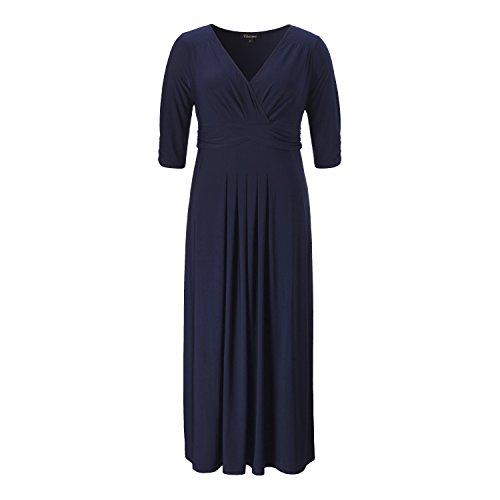 Chicwe Damen Große Größen Strecken Glanz Solide Maxi Kleid mit Raffung - Casual Party Cocktail Kleid Navy Blau 3X