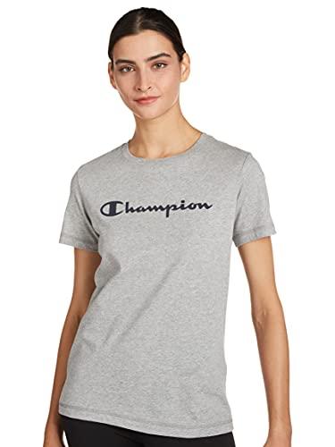 Champion Legacy Classic Logo Camiseta, Gris Jaspeado Claro, X-Large para Mujer