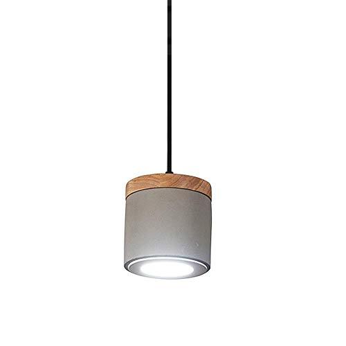 Chandelier de granja Luz colgante de 9W DIRIGIÓ Luces de techo de cemento gris, lámpara colgante de concreto con luminaria de decoración de madera for restaurante sala de estar dormitorio 12x12cm- 300