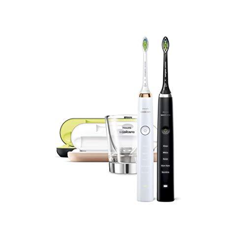 Philips Sonicare Diamond Clean HX9392/39 - Pack 2 Cepillos de Dientes Electricos Recargables, 5 Modos, 2 Cabezales, Vaso Cargador, Estuche USB, Color Negro, Blanco y Rosa