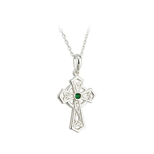 Biddy Murphy Failte Celtic Cross Necklace Sterling Silver and Green Crystal Made in Ireland