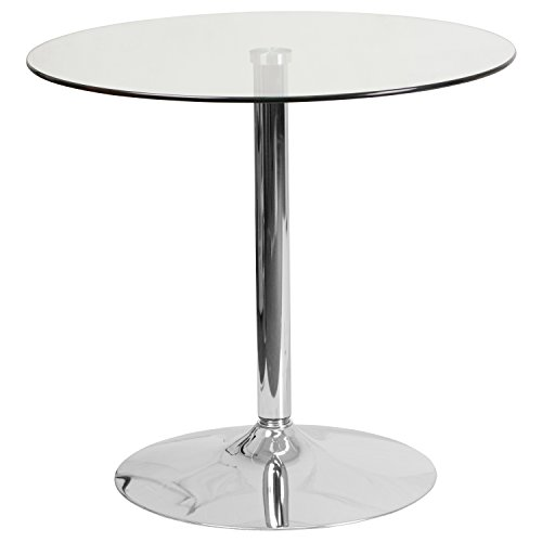 Flash Furniture 31.5'' Round Glass Table with 29'' H Chrome Base