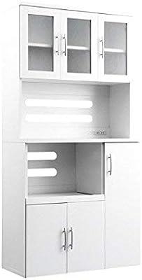 白の清潔感 食器棚 幅90×高さ180 ホワイト / キッチンボード レンジ台 キッチンラック 白