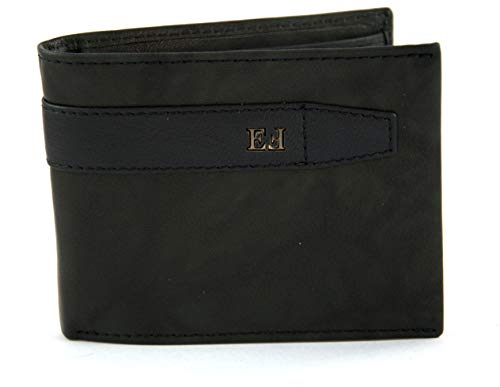 EGON FURSTENBERG Men's Genuine Leather Wallet with Coin Purse and Flap, 6 Credit Card Slots and Pockets for Documents and License