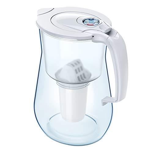 Aquaphor Provence wit incl. 1 A5 filterpatroon premium waterfilter in glaslook voor het verminderen van kalk, chloor en zware metalen, kunststof, volume 4,2 l