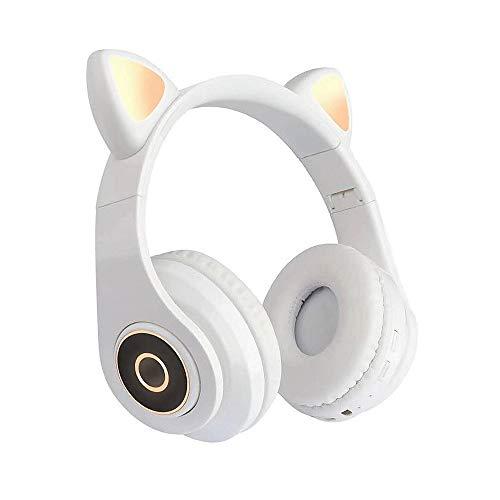 Fesjoy B39 Cute Cat Ear Headset Wireless BT5.0 - Auriculares plegables para videojuegos con luces RGB y juego de tarjetas TF/modo de cable, color blanco