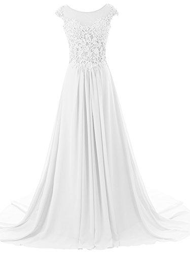 JAEDEN Beach Wedding Dress for Bride Lace Bridal Gown Appliques Chiffon Ivory US26W