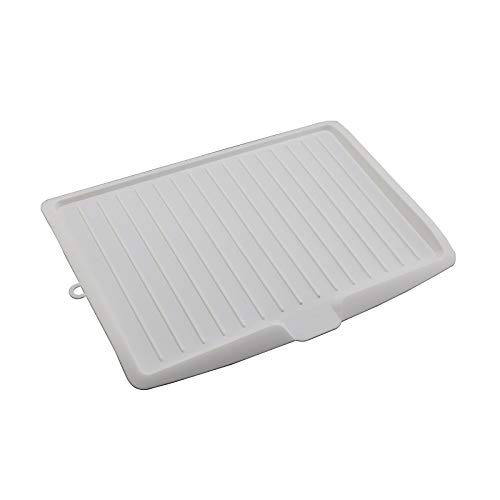YORKING Dish Drainer Tray,Plastic Kitchen Dish Draining Rack Side Drip Sloping Draining Tray for for Pots, Pans, Glass, Bowls Drain Cooking Holder Tools-White
