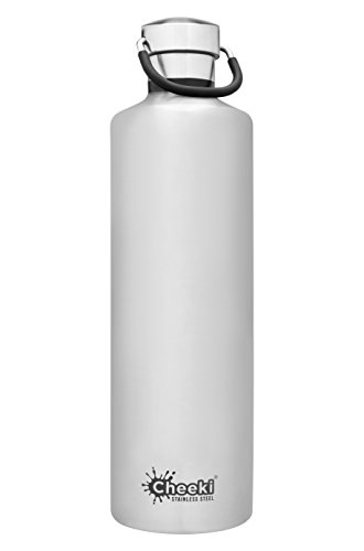 CHEEKI Stainless Steel Water Bottle, Insulated Classic Range (1 L/34 oz); Reusable Metal Sports Thermos, BPA-Free and Safe Drink Bottle, Cool Thermal Flask for Running, Gym, Cycling and School