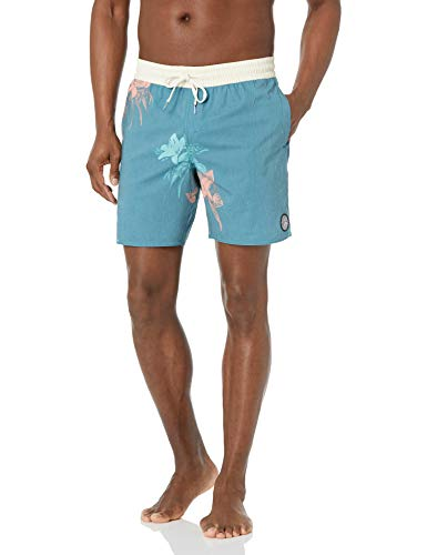 Volcom Men's 17-Inch Elastic Waist Surf Swim Trunks, Migration-Hydro Blue, Medium
