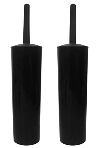 Klickpick Home Pack of 2 Compact Deep Cleaning Toilet Bowl Brush and Holder Caddy Set for Bathroom Storage and Organization Space Saving Sturdy Covered Brush - Black