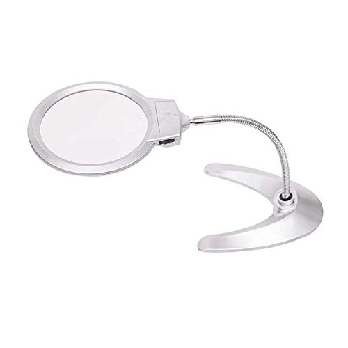 ZJN-JN Lupas Cristal de escritorio principal de la lente 3X lente auxiliar 5X de cristal con iluminación LED de ancianos Compruebe reparación del teléfono móvil de escritorio de cristal, plata 16.5 *