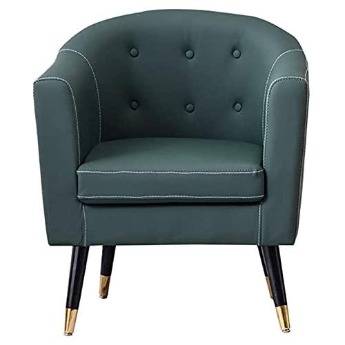 VERDELZ Silla Decorativa Moderna de Cuero PU, cómodas sillas de sofá Individuales Sillón de Club con Respaldo Alto para Dormitorio, Lectura, Sala de Estar, Silla con Patas de Metal