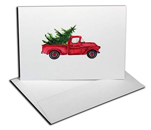 Inspiring Press (36 Count) Premium Red Truck Christmas Cards (Folded) + Matching Envelopes. Watercolor Image w/Small Print-Run. Nicely Boxed.