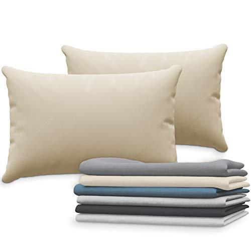 Dreamzie Set mit 2X Kissenbezüge 40x60 cm Beige Baumwolle 100% Jersey Baumwolle - Kissenhülle 2er Pack 40x60 - Bettwäsche Doppelbett Kissenbezug - Kissen Schoner - Resistent und Hypoallergen