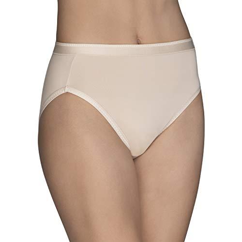 Vanity Fair Women's Comfort Where It Counts No Ride Up Panties, Hi Cut - Damask Neutral, 8