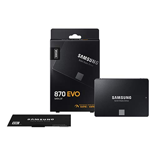 "Samsung SSD 870 EVO, 500 GB, Form Factor 2.5"", Intelligent Turbo Write, Magician 6 Software, Black"