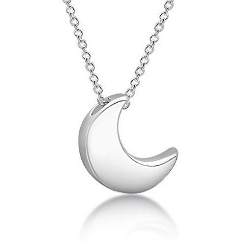 Collar de luna de plata de ley 925 para mujeres y niñas