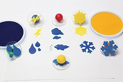 Set of 6 Weather Giant Rubber Stampers Wcase  Rain, Cloud Etc. by Center Enterprises