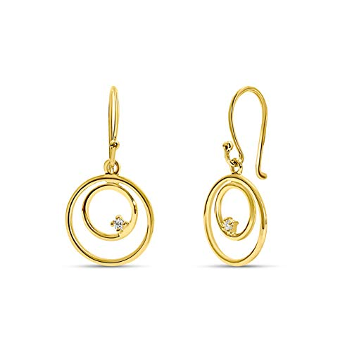 Miore 14 kt 585 yellow gold drop earrings with Circles/Hoops, length 23 mm