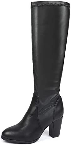 DREAM PAIRS Women's Chunky Heel Knee High and Up Boots