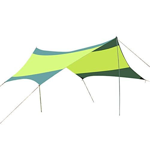 Nuokix Hammocks, Family Tent Portable Camping Tarp Shelter 18x18.4 Feet Waterproof Hammock Rain Fly Tent With Stakes Poles Ropes Survival Gear Kit ForBackpacking Fishing Beach Outdoor Tent Outing Cam