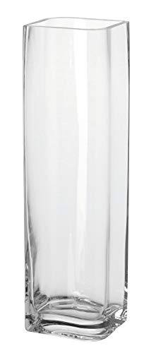 Leonardo Kasten-Vase Lucca, moderne Blumenvase, handgefertigtes Unikat in rechteckiger Form aus Glas, H 41 x B 9-cm, 014328