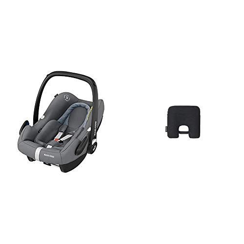 Maxi-Cosi Rock Babyschale, sicherer Gruppe 0+ i-Size Baby-Kindersitz (0-13 kg), nutzbar ab der Geburt bis ca. 12 Monate, passend für FamilyFix One Basisstation, essential grey + Maxi-Cosi e-Safety