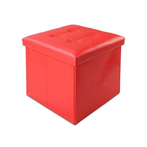 Todeco - Almacenamiento Banco, Almacenamiento Otomano Plegable de Cuero - Carga máxima: 150 kg - Material: Imitación de cuero - Acabado cosido y copetudo, 38 x 38 x 38 cm, Rojo