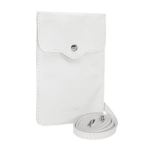 SKUTARI CUERO MAIDA SOFT Estuche para teléfono de mujer | cuero de alta calidad | Mini bolsillo para celular | Funda de cuero para teléfono celular | con correa extra larga | MADE IN ITALY